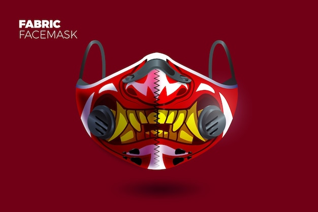 Realistic fabric face mask with teeth