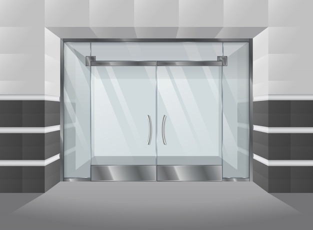 Realistic facade of shopping mall with glass doors and windows. vector illustration.