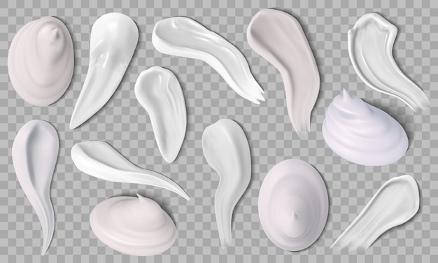 Realistic face cream. skin creme swatches, creamy swatching of moisturizer and shaving foam. hygienic creme smears  icons set. lotion cream, creamy product, makeup skincare illustration