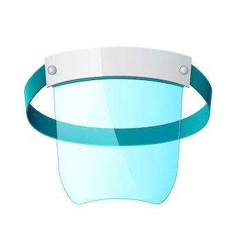 Realistic face shield, protective plastic screen against coronavirus, respiratory diseases and industrial polution. protective face mask, breathing disease prevention.