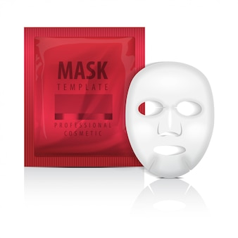 Realistic facial sheet mask and red sachet. blank   template. beauty product packaging