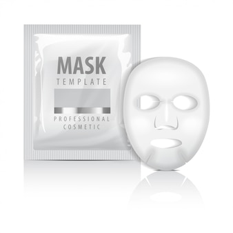 Realistic facial sheet mask and sachet. blank   template. beauty product packaging on white background