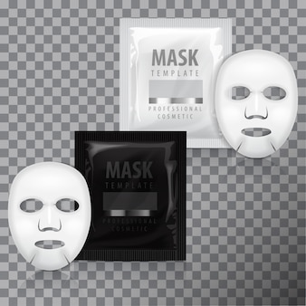 Realistic facial sheet mask and sachet.   template. beauty product packaging on transparent background