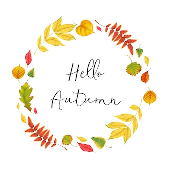 Realistic fall leaves autumn background frame colorful leaves and inscription hello autumn