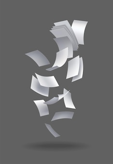 Realistic falling paper sheets. set of flying curved leaves of paper. vector loose soar of notes with curled edges. fly scattered notes, empty chaotic paperwork