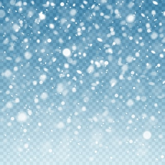 Realistic falling snow. snow background. frost storm, snowfall effect on blue transparent background. christmas background.