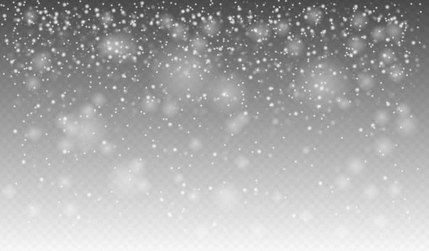 リアルな降雪、さまざまな形や形の雪片、冬の天気