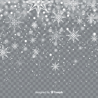 Realistic falling snowflakes in transparent background