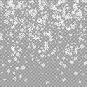 Realistic falling white snow overlay on transparent background snowfall backdrop