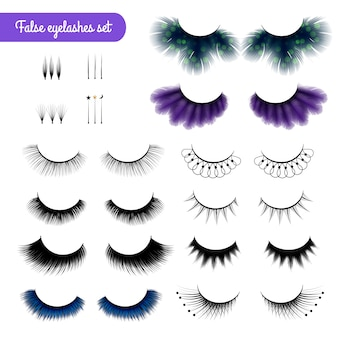 Realistic false eye lashes set
