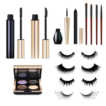 Realistic false lashes cosmetics set