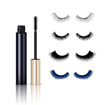 Realistic false lashes mascara set