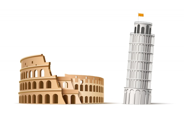 Realistic famous italian landmark pisa tower and coliseum