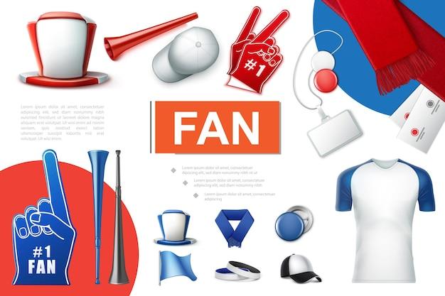 Реалистичная коллекция аксессуаров для болельщиков с футбольным болельщиком, шляпа, кепка, шарф vuvuzela, трубы, перчатки из пены, значки, билеты, флаги, иллюстрация рубашки