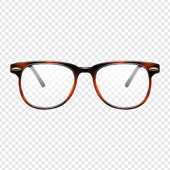 Realistic fashion glasses with transparent background