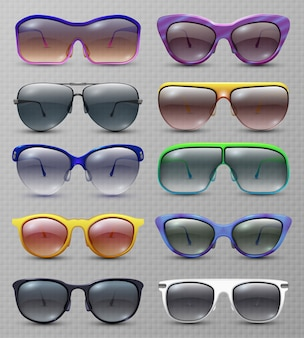 Realistic fashion sunglasses and glasses isolated  set.  of sunglasses and eyeglasses protection collection