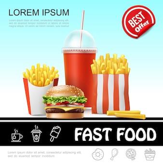 Modello realistico di fast food con soda di patatine fritte in tazza di carta e illustrazione di cheeseburger
