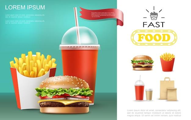Modello realistico di fast food con soda e tazze di caffè patatine fritte cheeseburger sacchetto di carta illustrazione