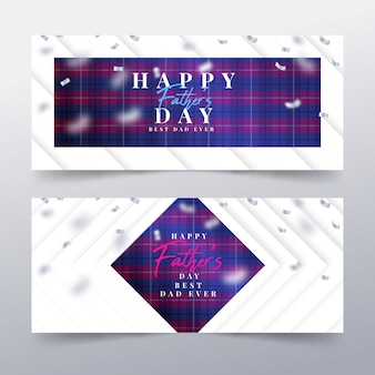 Realistic father's day banner collection