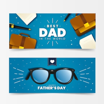 Realistic father's day banners collection