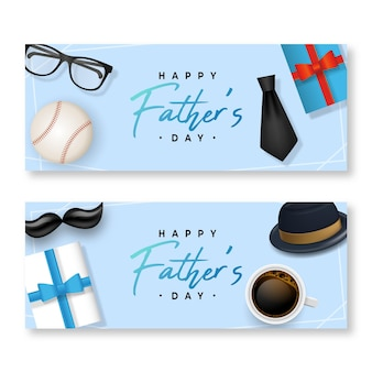 Realistic father's day banners set