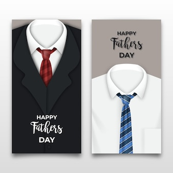 Realistic father's day banners with suits