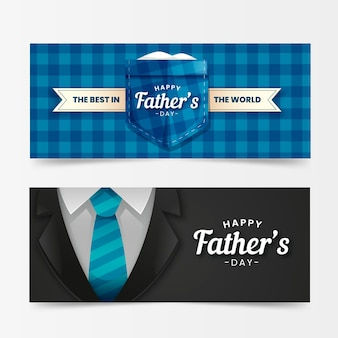 Realistic father's day banners
