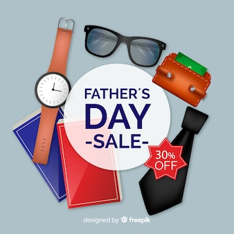 Realistic father's day sale background