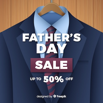 Realistic father's day sales background