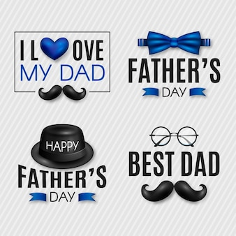 Realistic fathers day badges collection