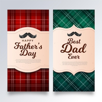 Realistic fathers day banners template