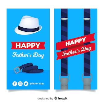 Realistic fathers day banners
