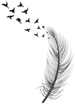 Realistic feather bird illustration abstract concept with big feather and flock of birds on top