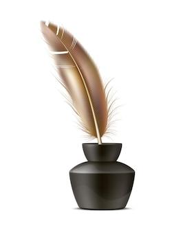 Реалистичное перо гусиное перо в чернильнице.