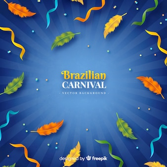 Realistic feathers brazilian carnival background