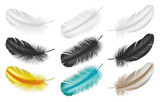 Реалистичные перья: белые, черные и красочные перья из крыльев птиц на белом фоне. креативное оперение для дизайна. иллюстрация