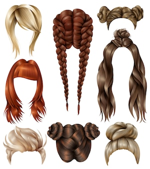 Realistic female hairstyles set