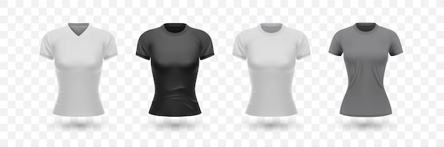 Realistic female shirt set collection