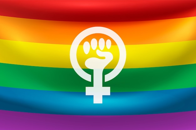 Realistic feminist flag with rainbow colors