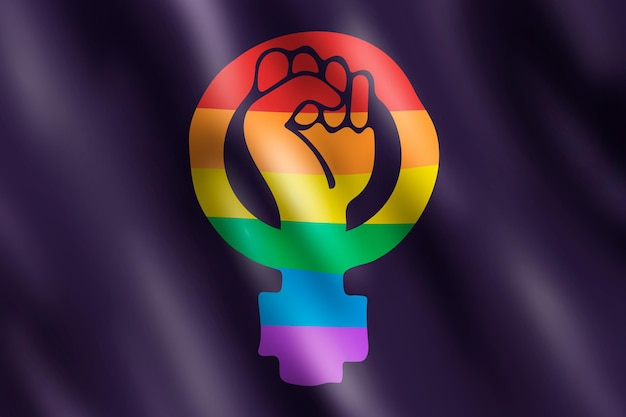 Realistic feminist lgbt flag illustration