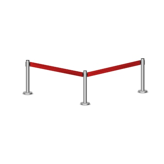 Realistic fencing for exclusive entrance or security zone. silver barrier with red ribbon for vip presentation. red rope for exhibition halls and car dealerships.