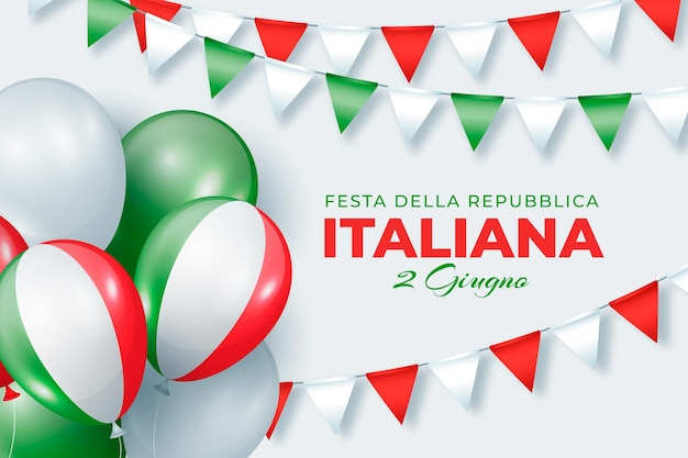 Реалистичная иллюстрация фестиваля festa della repubblica