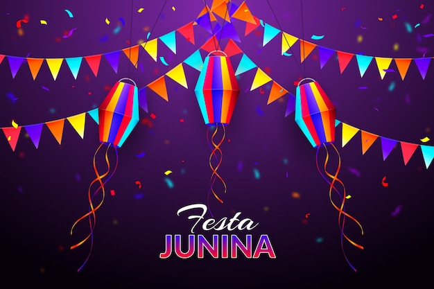 Realistic festa junina confetti and garlands