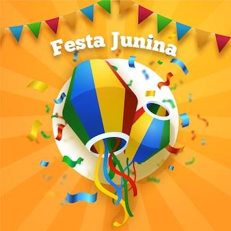 Realistic festa junina confetti and kites