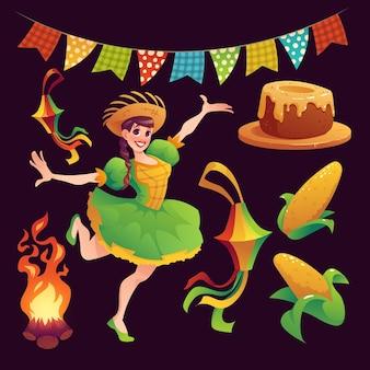 현실적인 축제 junina 요소 컬렉션