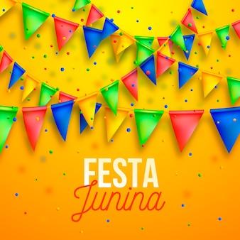 Realistic festa junina and garlands