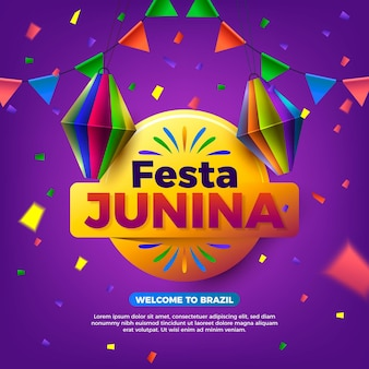 Realistic festa junina illustration with event name