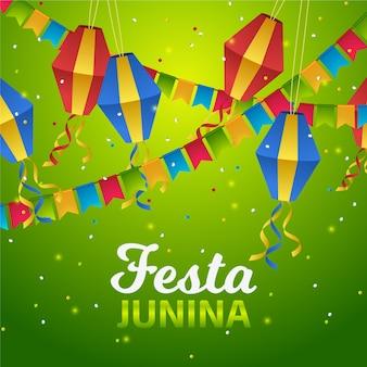 Realistic festa junina kites and garland