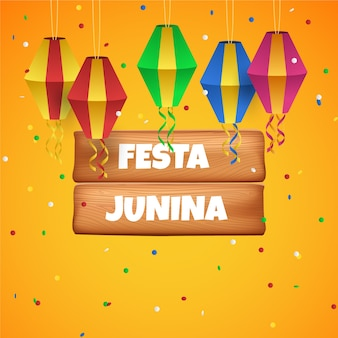 Realistic festa junina and kites