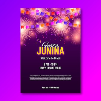 Realistic festa junina party flyer